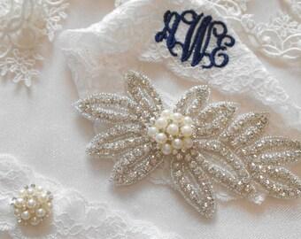 Wedding Garter MONOGRAM Option Rhinestone Garter Set. Bridal Garter Floral Stretch Lace Bridal Garter