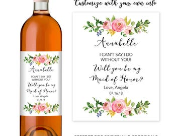 Cute Bridesmaid Proposal, Will You Be My Bridesmaid Wine Bottle Label, Bridesmaid Proposal Bottle Label, Bridesmaid Proposal Idea