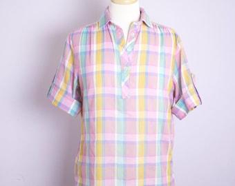 Vintage 1980's Purple Plaid Camp Shirt M/L