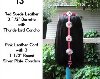 Red & Pink Leather Cascading Silver Concho Hair Barrette 13""