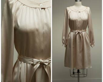 Vintage 1960s Dress • Champagne Cocktail • Nude Polished Poly Late 60s Cocktail Dress Size Medium