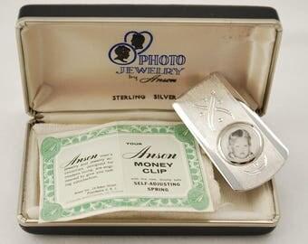 Vintage 1950's Anson Sterling Silver Photo Money Clip - Photo Jewelry in Original Box