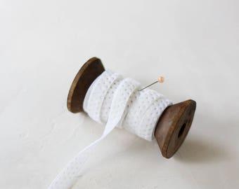"White + Metallic Gold Dot Velvet Ribbon (with Wooden Spool) - 5 yards - 3/8"" wide"