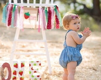 Strawberry Party - Gingham - hand painted - freestanding wooden age blocks - ONE