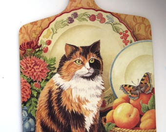 Vintage Cutting Board by Jenny Barron - Tabby Cat Kitten - Wilscombe Melamine - Collectible - Country Kitchen - Shabby Chic - Wall Decor