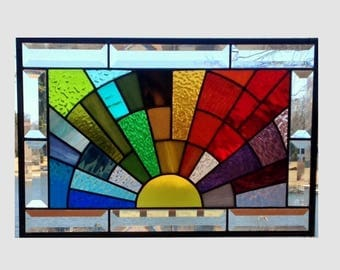 Beveled stained glass window panel rainbow arch geometric stained glass panel window hanging abstract suncatcher 0342 17 1/2 x 11 1/2
