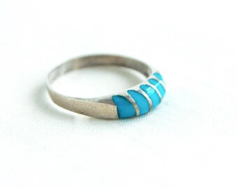 Turquoise Striped Ring Size 8 Vintage Blue Stacking Band Sterling Silver Unisex Jewelry