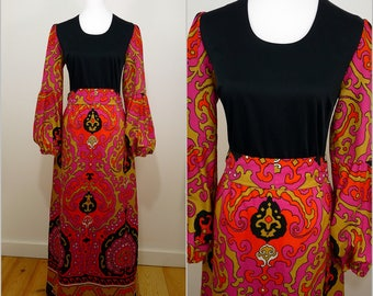 Bohemian VINTAGE 1960s Black Orange Pink Psychedelic Balloon Sleeve Maxi Dress UK 12 F 40 / Pop / Retro/ Funky/ Sash waist