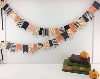Halloween Mini Flags Garland: Halloween Garland, Halloween Banner, Mantel Decor, Classy Halloween, Halloween Party Decor, Bridal Shower