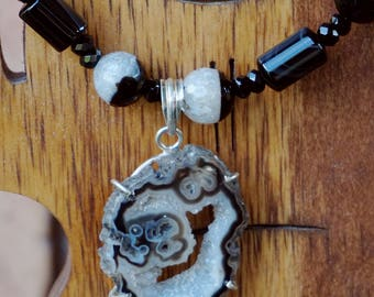 Geode Complimented by Agate and Onyx Beads