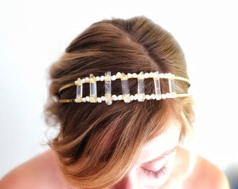Raw Quartz Headpiece, Bohemian Bride Hairpiece, Raw Crystal Headband, Quartz Hair accessory, modern wedding headband, Boho wedding hair