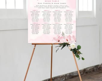Seating Chart on Foam Core - Soft Pinks, Magnolias (Style 0011)