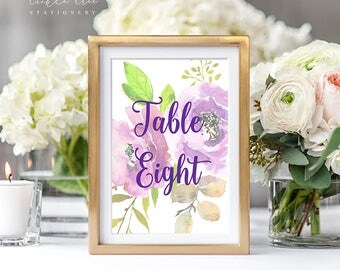 PRE-PRINTED SALE - Reception Table Numbers 1 Through 14 + Signs - Peony Love (Style 13764)