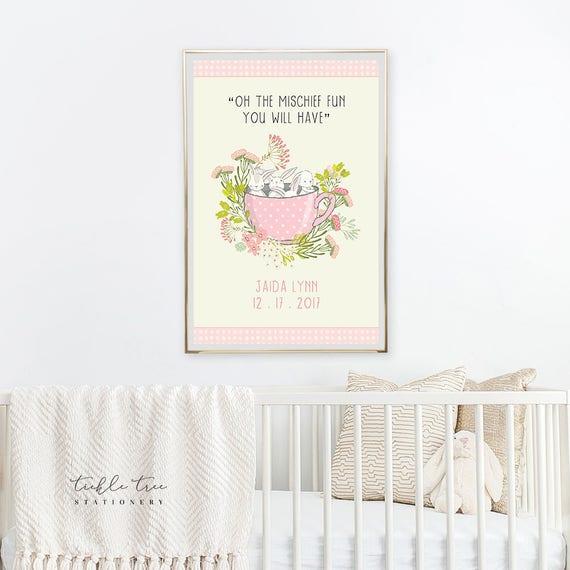 Art Print - Birth Poster, Oh The Mischief Bunnies in a Cup (W00044)