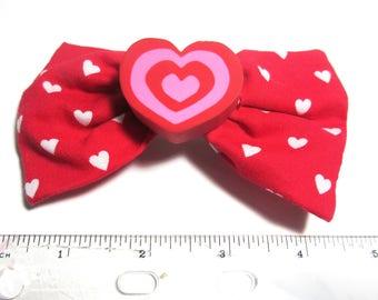 Valentine Hair Bow; cartoon lover heart bow; red pink heart bow; Valentine Hairbow; handmade hairbow; kawaii heart hairbow; Power heart bow