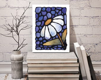 White Daisy Flower Print - FREE Shipping - Stained-Glass Art - Wall Hanging - Art Nouveau Artwork - Daisy Decor - Floral Powder Room Art