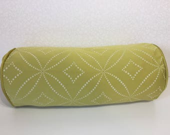 CHARTREUSE lime BOLSTER Yellow cushion cover Bright zest yellow pillow Cream linen bolster Trellis cushion cover Lime pillow MoGirl DESIGNS