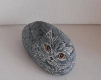 Hand Painted Stone Cat. River Rock Paperweight Home Decor Painting. Cat Collectible. Hand Made. Folk Painting. 3D Pet. READY TO SHIP