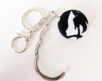 Handbag Hook Key Ring and Bag Charm, Purse Hook Hanger Key chain, Bag Hook, Folding Purse Hanger in Black White