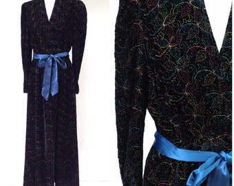 Vintage 1930s Black Velvet with  Rainbow Floral Embroidery Dressing Gown Robe / Women's XS / 30s Art Deco Full Length Robe Loungewear