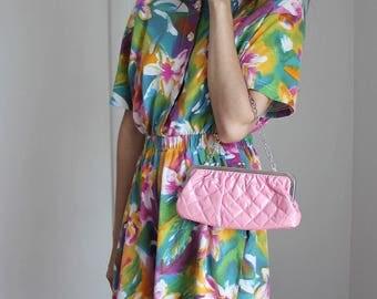Vintage Pink Bubble Knit Clutch