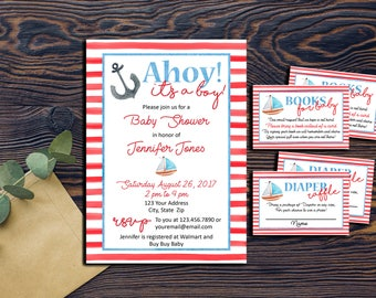 Nautical Watercolor Boy Baby Shower Invitation Package-Sailboat-Anchor-DIGITAL INVITATION-Red Blue  Diaper Raffle Book Request Nautical