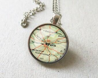 Paris map necklace-Paris keychain-Paris atlas pendant-France map Jewelry-Paris keychain-France map necklace-Europe necklace-necklace-NPNK043