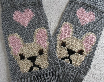 French Bulldog Scarf. Gray knit and crochet scarf with pink hearts and fawn bulldogs. Crochet dog scarf. Bulldog gift