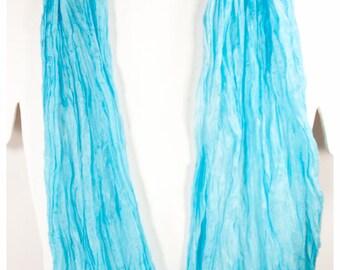 "Turquoise Silk Shawl. Handpainted silk shawl. 27""x64"" flat (0.7 x 1.6m) Habotai Silk. Handpainted silk scarves. Hand-painted silk scarf~#17"