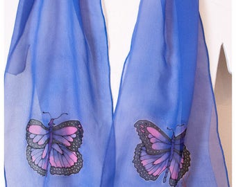 "Silk scarf handpainted. 10x58"" chiffon silk. Butterfly Silk Scarf. Painted silk scarf. Hand painted silk scarf. Handpainted silk scarves"