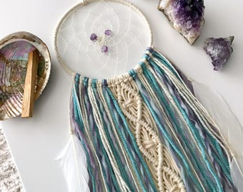 Pastel Dream Catcher // Macrame Wall Decor, Ivory Turquoise Aqua Blue Purple Yarn, Amethyst Crystal, White Feather, Boho Teen, Baby Nursery