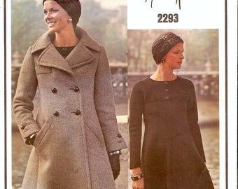 Super Uncut Vintage 1970s Vogue Paris Original 2293 Designer Nina Ricci Double Breasted Coat and A-line Dress Sewing Pattern B32.5 w/Label