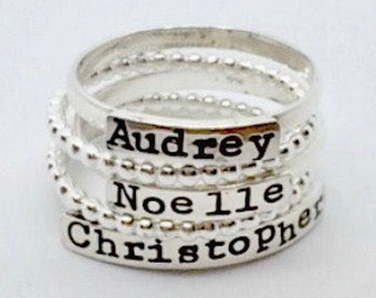 Stacking Name Rings - Sterling Silver Stacking Ring - Gifts for Mom - Hand Stamped Rings - The Charmed Wife -Christmas Gifts for her - Gifts