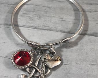 BRIDESMAID Gift. Bracelet for Bridesmaid. Matron of Honor Jewelry. Swarovski CRYSTAL. Maid of Honor Gift. Bridesmaid Bracelet. Silver Bangle