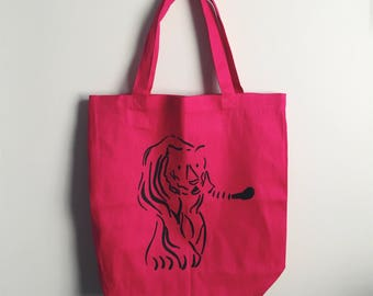 Tiger Tote Bag Screenprint Illustration in Hot Pink