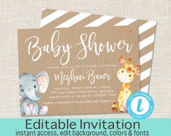 Elephant Baby Shower Invitation, Safari Elephant Giraffe Invitation, Editable invitation, Kraft Baby Elephant Invitation, Instant Download