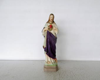 "12"" Sacred Heart of Jesus Chalkware Statue Plaster Vintage C.S.110 Columbia Christian"