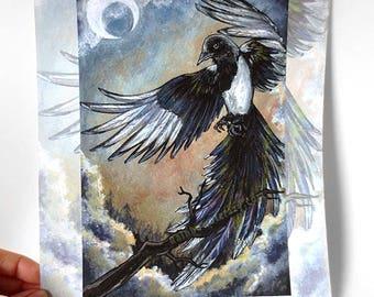 Sale: Magpie Art //MINOR DEFECTS // Black Bird 8x10 Print, Eight of Cups, Night Sky, Crescent Moon, Spirit Animal, Animism Tarot Deck