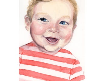 "8""x10"" Custom Portrait Illustration - Watercolor Painting"