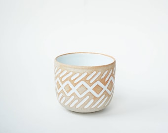 """hand-carved ceramic cup / tumbler / mug / raw clay with bright white glaze / zig zag pattern // """"GROOVE"""""""