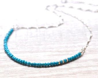 Turquoise Necklace in Silver, December Birthday Gift, Turquoise silver Necklace, December birthstone Jewelry, Turquoise Jewelry
