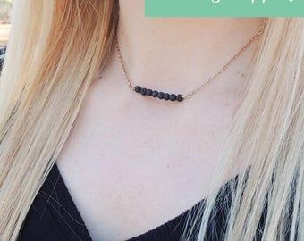 Dainty Essential Oil Diffuser Necklace, Lava Rock Oil Diffuser Necklace, Dainty Lava Diffuser Necklace, Minimalist Aromatherapy Necklace
