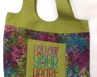 Tote Bag with Pockets Batik Follow your Heart Machine Embroidered Purple Green Blue Handbag Purse Boho Bag Handmade Customizable