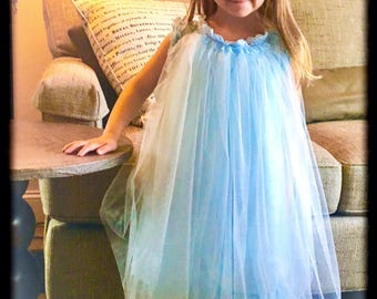 Blue flower girl dress,  wedding apparel,  special occasion dress,  powder blue, wedding dress,  baby blue  dress,
