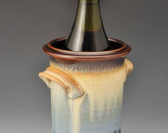 Wine Chiller with Handles, Vase, Kitchen Utensil Holder, Cream and Powder Blue
