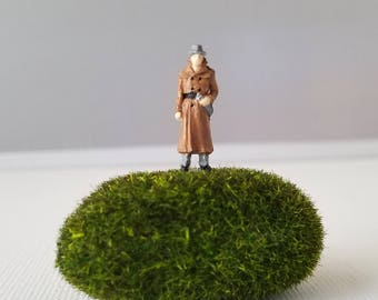 Miniature World Terrarium People Tiny Man Trench coat Overcoat Detective HO Scale Hand painted One of a Kind Railroad Figure