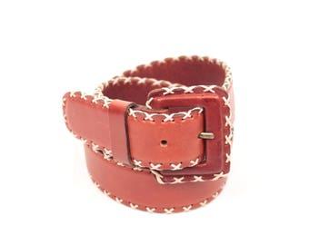 vintage stitched leather belt // square buckle