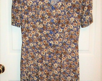 Vintage Ladies Blue One Piece Romper Culottes by Knapp Studio Size 8 Only 10 USD