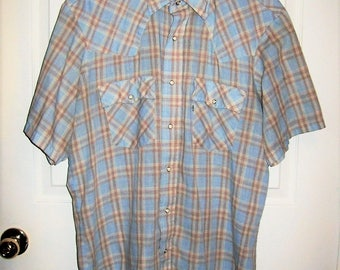 Vintage Men's Blue & Tan Plaid Snap Front Western Shirt by Levi's Extra Large Only 9 USD