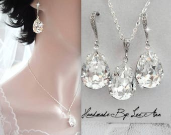 Crystal jewelry set, Swarovski crystals ~ Bridal jewelry set ~ Teardrops ~ Wedding jewelry ~ Sterling silver wires and chain ~ SOPHIA ~GIFT